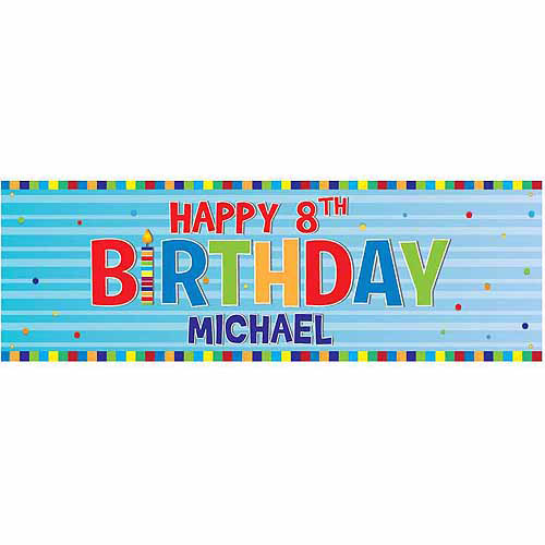 Personalized Blue Happy Birthday Banner