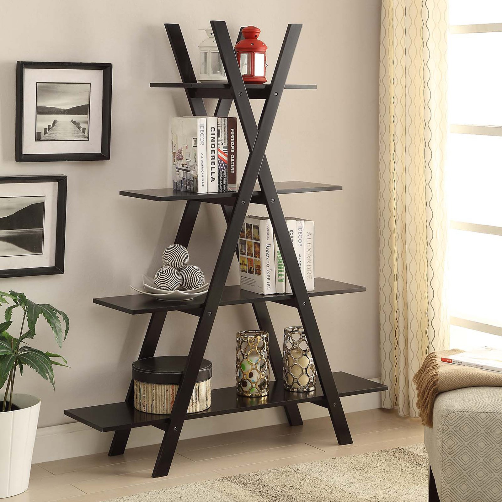 "Convenience Concepts Oxford ""A"" Frame Bookshelf, Multiple Colors"