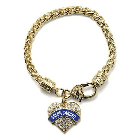 Colon Cancer Awareness Gold Pave Heart Charm - Colon Cancer Bracelets