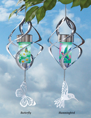 Collections Etc Solar Spiral Wind Spinner, Hummingbird by