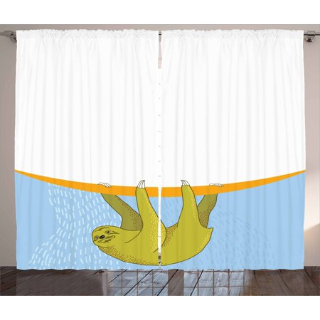 Sloth Curtains 2 Panels Set, Sloth in Underwater Illustration Oceanic Tropical Wildlife Habitat Fauna, Window Drapes for Living Room Bedroom, 108W X 108L Inches, Pale Blue Khaki Orange, by Ambesonne