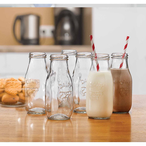Circleware Country 11-Ounce Milk Bottles, Set of 6