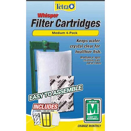tetra whisper filter cartridges medium easy to assemble 4 count. Black Bedroom Furniture Sets. Home Design Ideas