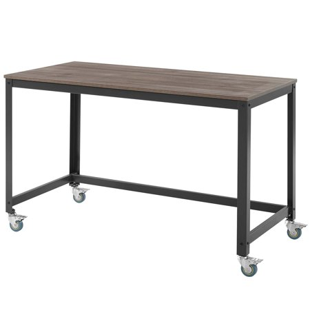 Industrial Country Cottage Farm Beach House Home Business Office Furniture Work Desk, Wood Metal Steel, Black ()