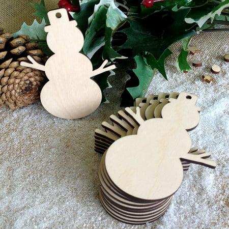 (10pcs Snowman Shape Wooden Decorate Christmas Tree Hanging Ornament Christmas Decoration Pendants Size:6.9 * 9 * 0.3cm)