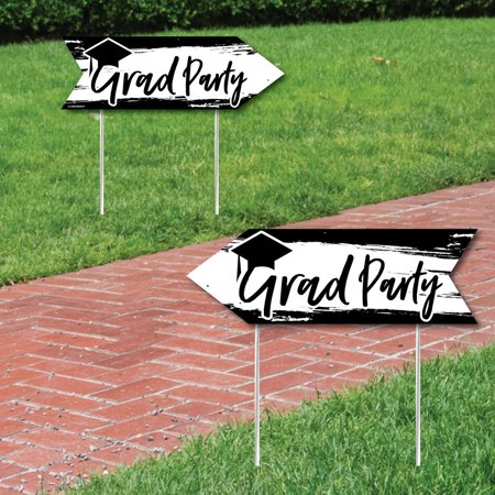 Black and White Grad - Best is Yet to Come - Graduation Party Sign Arrow - Double Sided Directional Yard Signs - Set