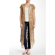 Bobeau NEW Brown Tabacco Women's Small S Embroider Duster Mesh Sweater $72