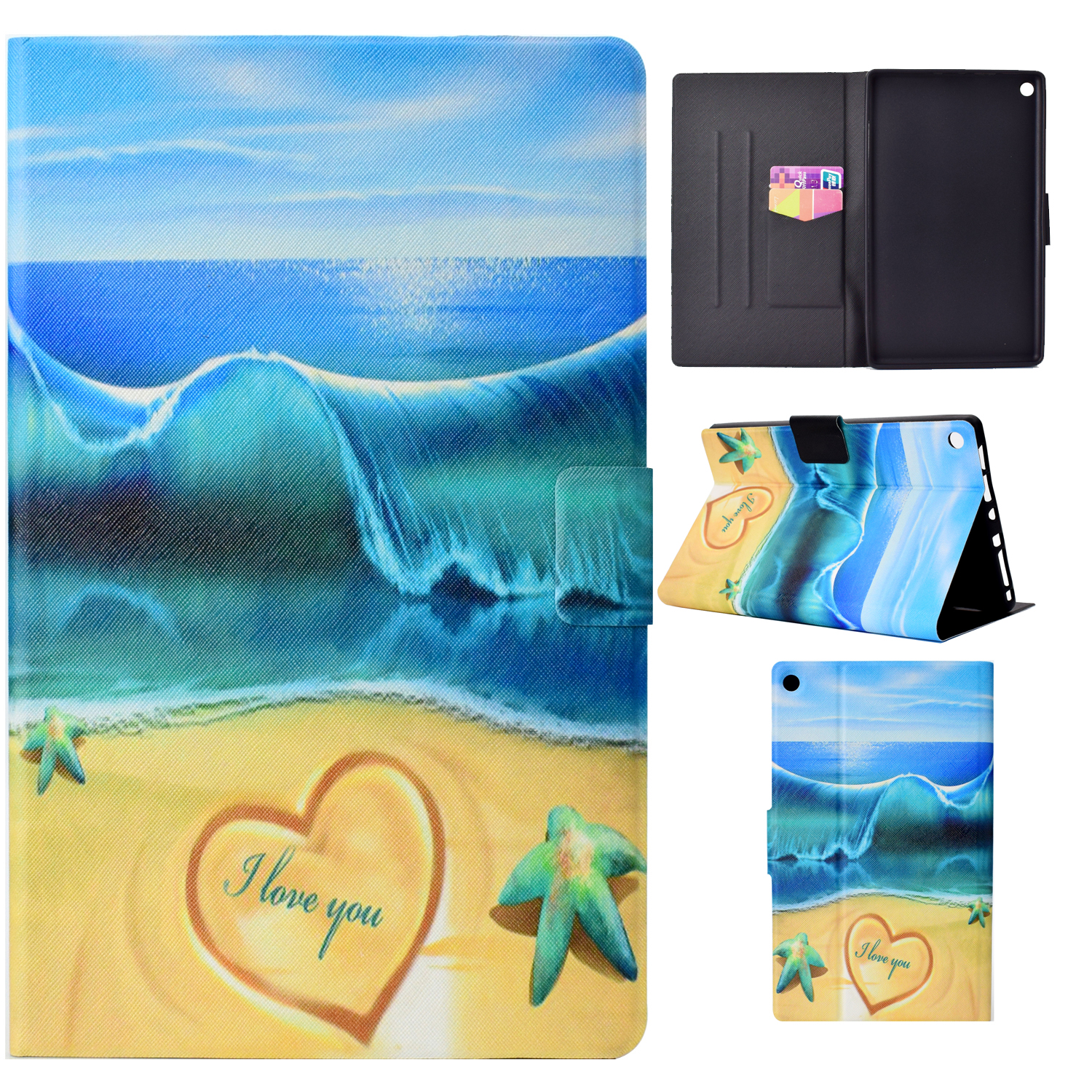 "Kindle Fire HD 8 Case (8"" Display, 2018/2017/2016 Released, 8th/7th/6th Generation), Allytech Slim Folio Stand Colorful Pattern Auto Sleep Wake Cover for Amazon Kindle Fire HD 8, Starfish Sea"
