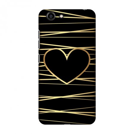 Gionee S10C Case, Premium Handcrafted Printed Designer Hard Snap On Case Back Cover with Screen Cleaning Kit for Gionee S10C - Golden Heart Ribbon (Heart With Ribbon)