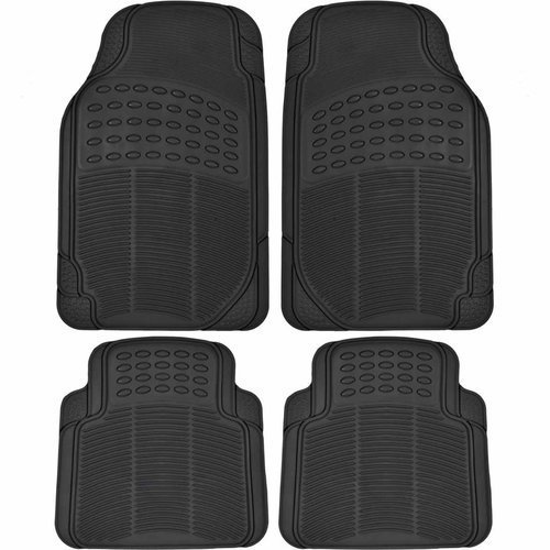 BDK Heavy-Duty 4-piece Front and Rear Rubber Car Floor Mats, All Weather Protection for Car, Truck and SUV