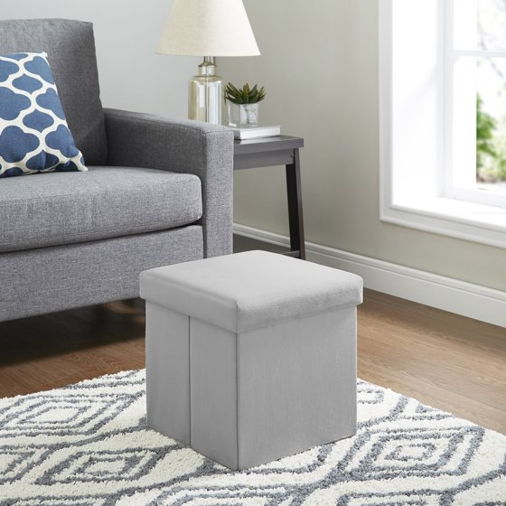 Mainstays Collapsible Plush Storage Ottoman Grey