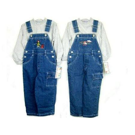Toddler Boys Sizes 2T/3T/4T Cotton Denim Embroidered Bib Pocket Overall 2-PC Sets. * 1 Unit Set Pack - Embroidered Bib Pocket Overall