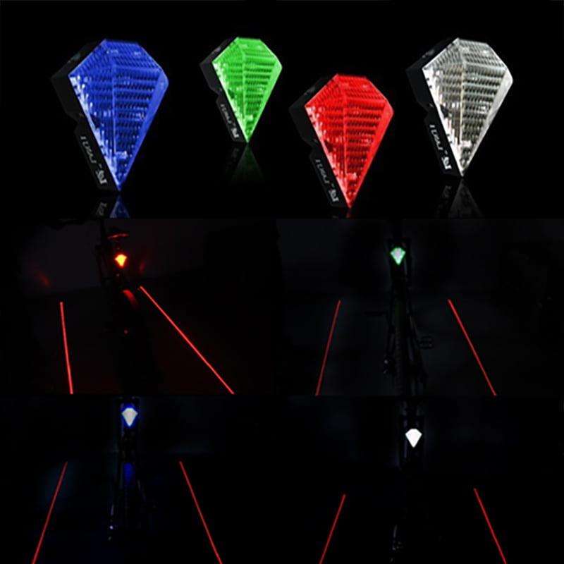Bicycle Bike Rear Tail Safety Warning Lights 8 LEDs+2 Lasers Flashing Lamp Light
