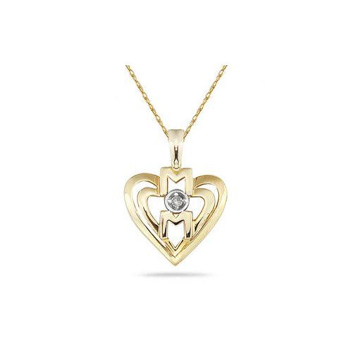 Szul Jewelry Round Cut Diamond Heart MOM Pendant