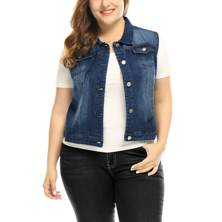 Mother's Day Gift Women's Plus Size Chest Pockets Single Breasted Sleeveless Denim Vest Coat Blue 3X ()