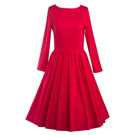 38b17bd8c1b2b Sexy Dance - Women Vintage Style Dress Retro 50S 60S Rockabilly Swing  Simple Color Dresses for Autumn Winter - Walmart.com