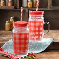 The Pioneer Woman Charming Check 2-Piece 32-Oz Mason Jar Set