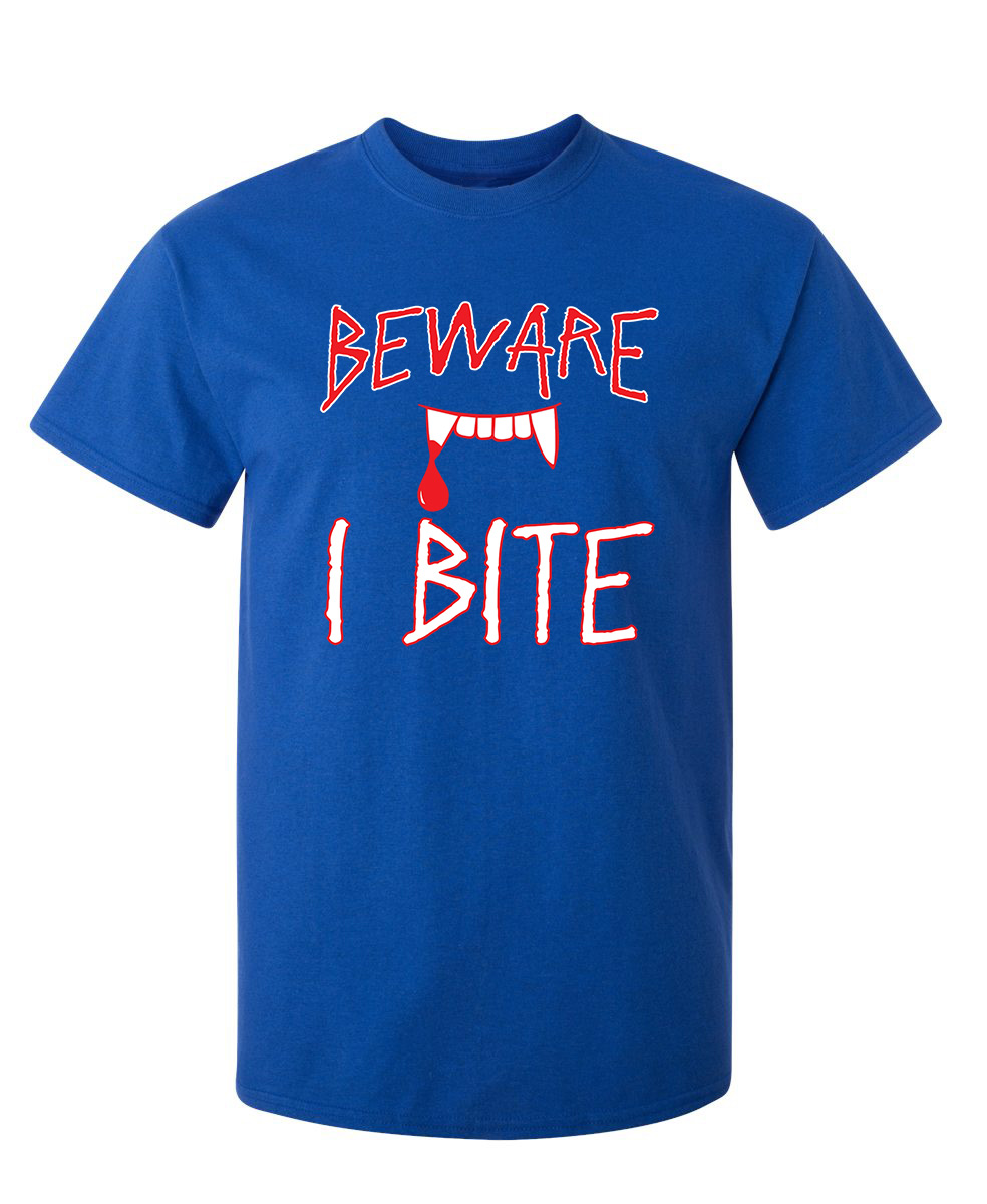 Details about  /Careful I Bite Funny Men/'s T-shirt White Crewneck Graphic shirt for Halloween