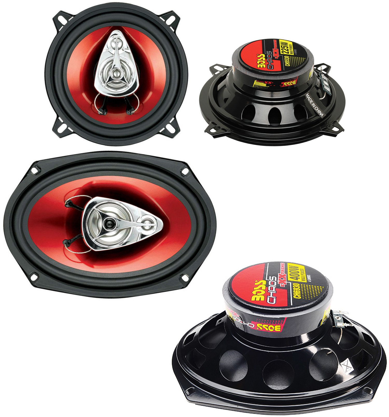 "2) BOSS CH5530 5.25"" 3-Way 225W + Boss CH6930 6x9"" 3-Way 400W Car Audio Speakers"