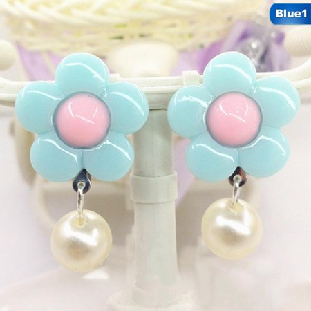 AkoaDa 1 Pair Ear Clip Korean Trendy Kid Children Flower Soft Cushion Ear Clip No Piercing Earring