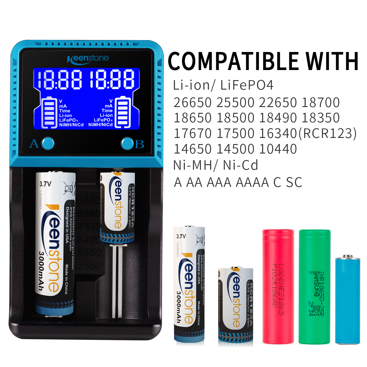 WOYUM Smart Battery Charger with USB Port Charging for Rechargeable Lithium 10440 14500 14650 16340 16650 17650 17670 18350 18490 18500 18650 Batteries NiMH AA AAA Battery