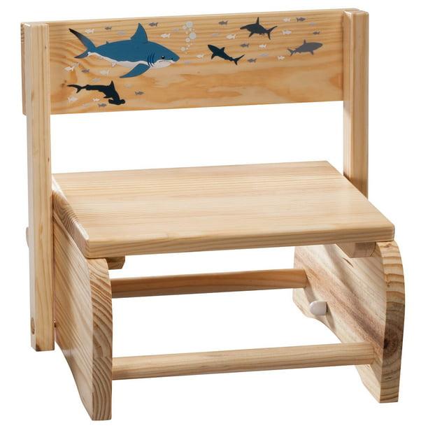 Car Theme Sturdy Wood Step Stool Bench