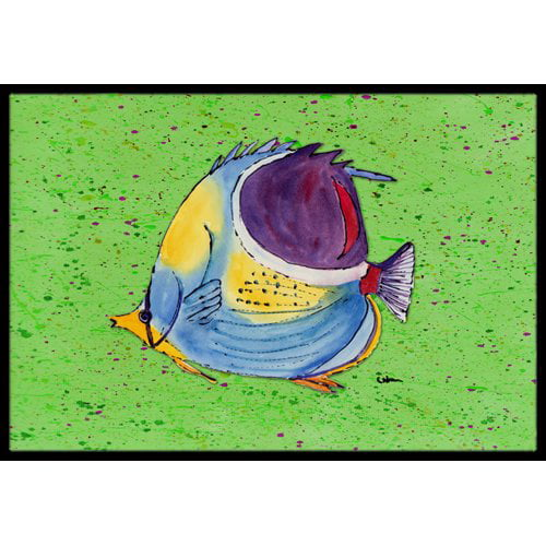 Tropical Fish on Green Doormat by Caroline's Treasures