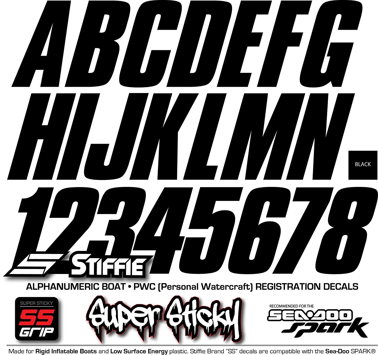 Stiffie Shift White 3 ID Kit Alpha-Numeric Registration Identification Numbers Stickers Decals for Boats /& Personal Watercraft
