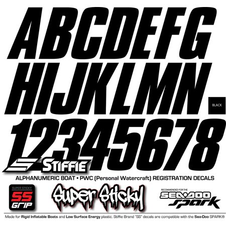 "STIFFIE Shift Black SUPER STICKY 3"" Alpha-Numeric Identification Custom Kit Registration Numbers Letters Stickers Decals for Boats & Personal Watercraft PWC Sea-Doo SPARK, Inflatable Boats, RIB, PVC"