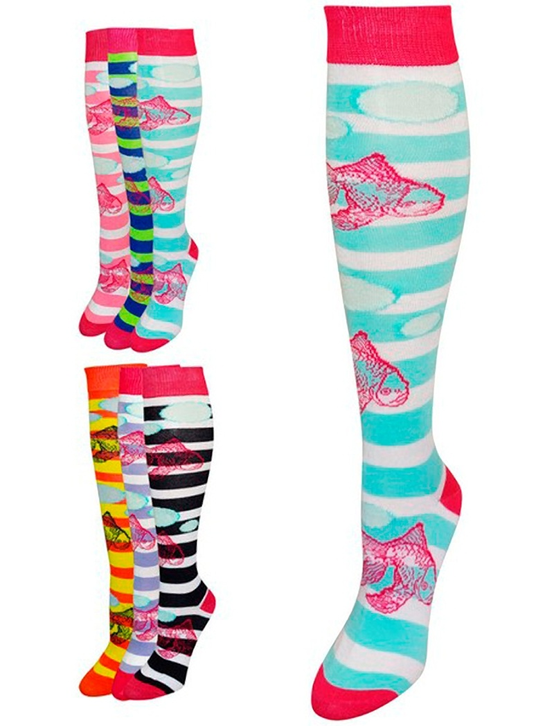 6 Pairs Fashion Design Knee High Socks