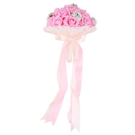 Wedding Bridesmaid Foam Bowknot Decor Flower Handhold Bouquet Pink 9 Inch Dia - Foam Flower