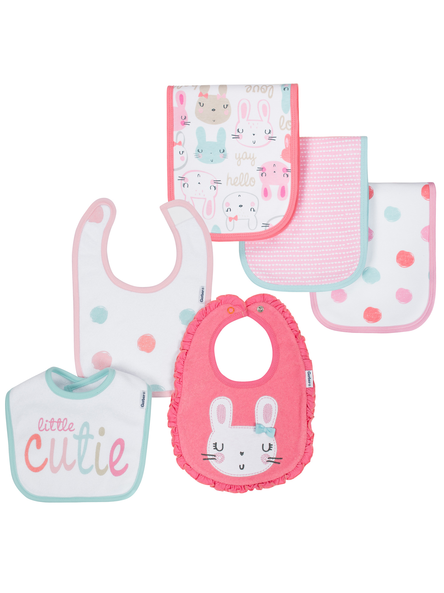 GERBER BABY GIRLS 3-Pack Organic Cotton Terry Lined Burp Cloths Bunny Pink