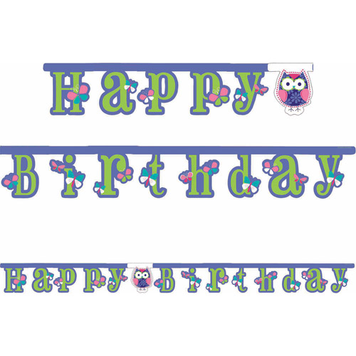 Creative Converting Owl Pal Birthday Jointed Banner