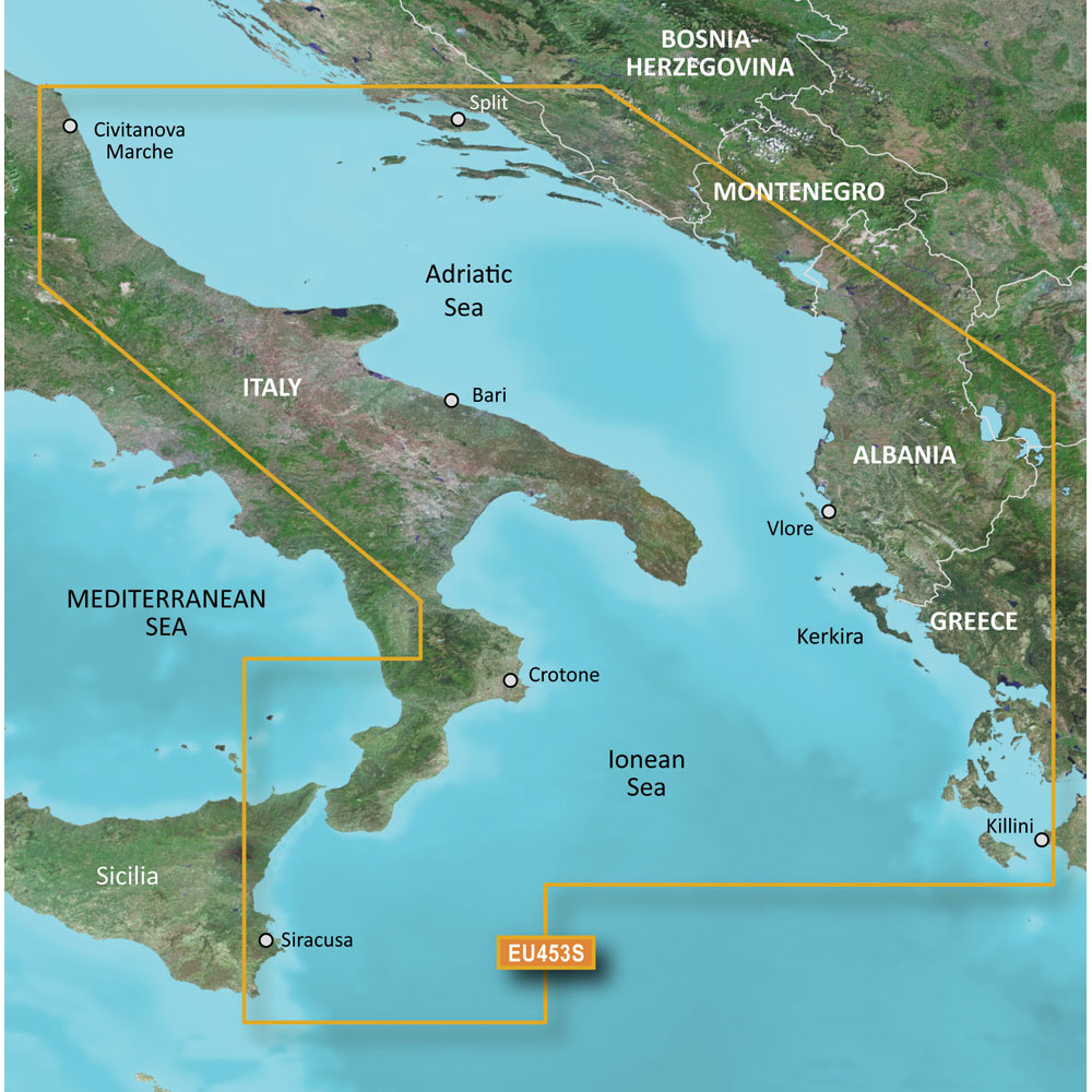 GARMIN VEU453S ADRIATIC SEA SOUTH COAST BLUECHART G2