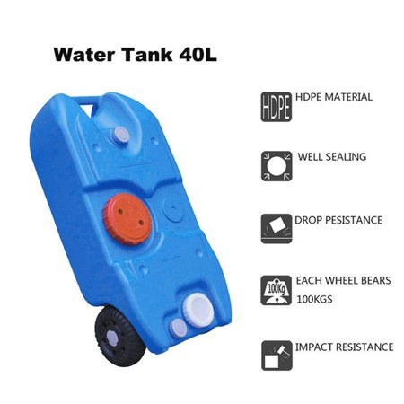 Zimtown 40L / 10Gallon Portable Water Storage Tank Container Wheels Camping Caravan Motorhome Waste Transport Picnic, Plastic