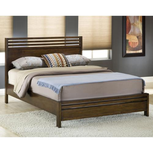 Modern Wood Veneer Slatted Platform Bed Queen