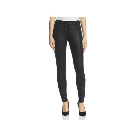 J Brand Womens Denim Coated Skinny Jeans Black 28