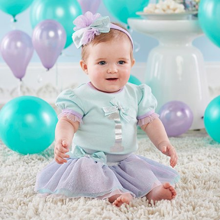 My First Birthday Short Sleeve Bodysuit, Tutu Skirt & Headband, 3pc Outfit Set (Baby Girls) - Tutu Outfit For Baby