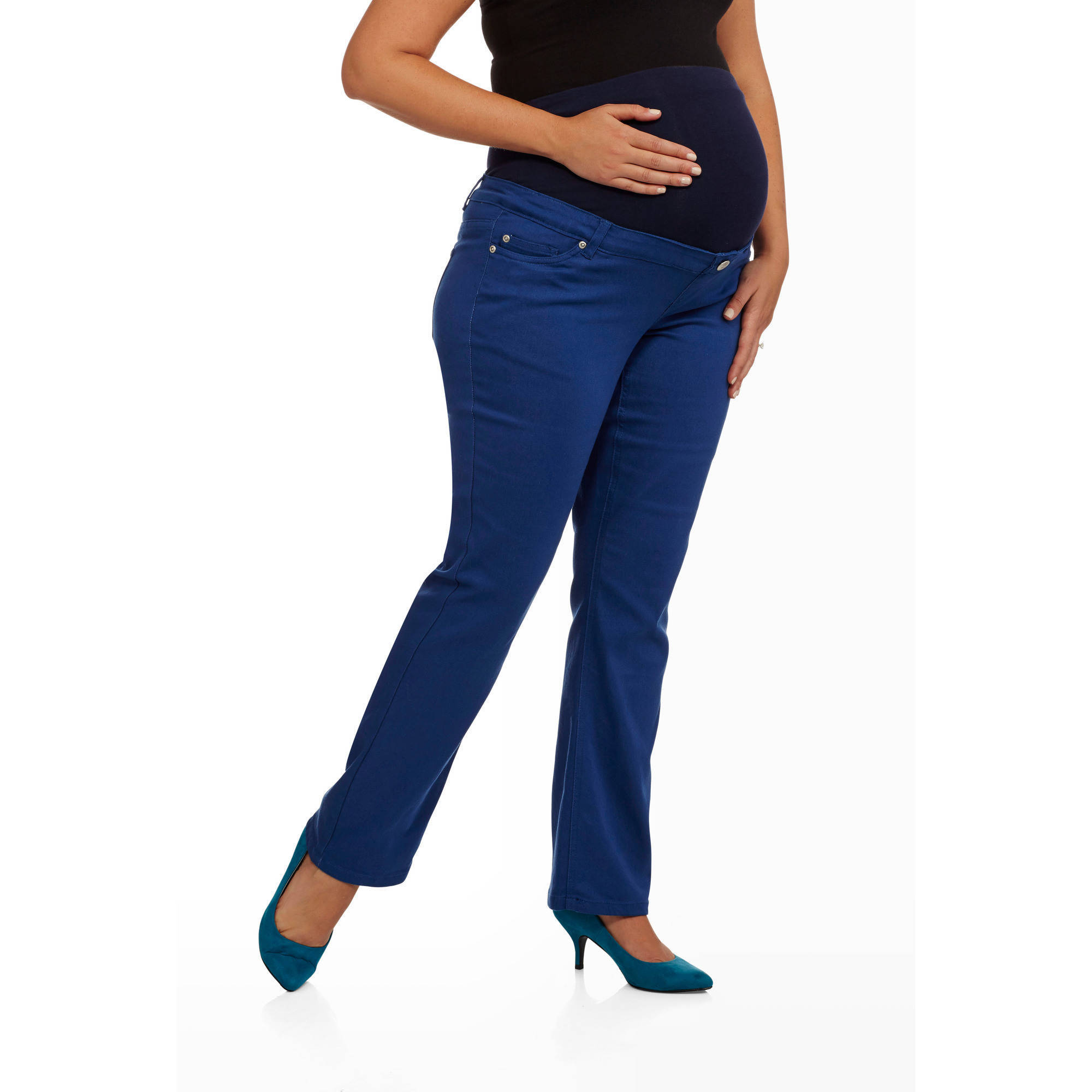 Planet Motherhood Maternity Plus-Size Full Panel Colored Jeans