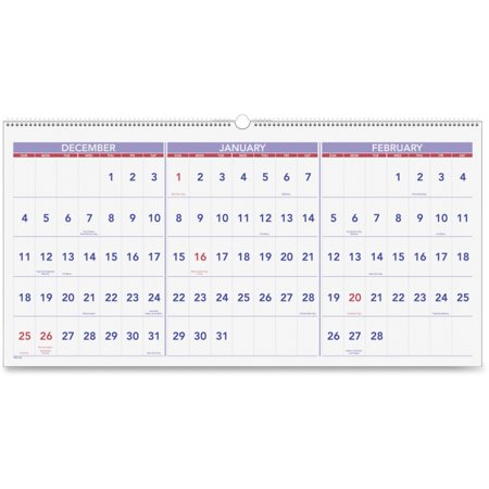 At A Glance AAGPM1428 Horizontal Wall Calendar 3-Months, Chipboard - Blue & White (Calendar Month At A Glance)