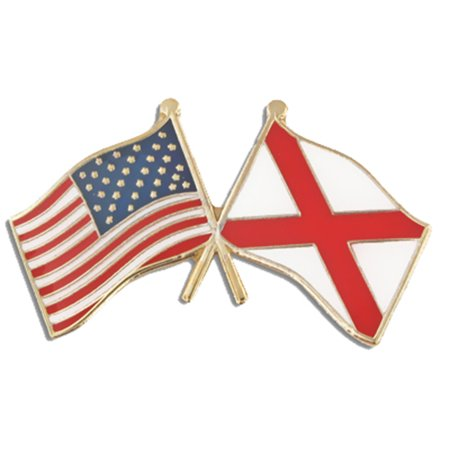 PinMart's Alabama and USA Crossed Friendship Flag Enamel Lapel