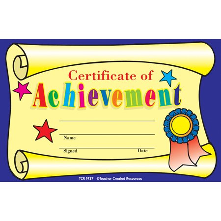 CERTIFICATE OF ACHIEVEMENT 25PK 8-1/2 X 5-1/2 Reading Achievement Certificate