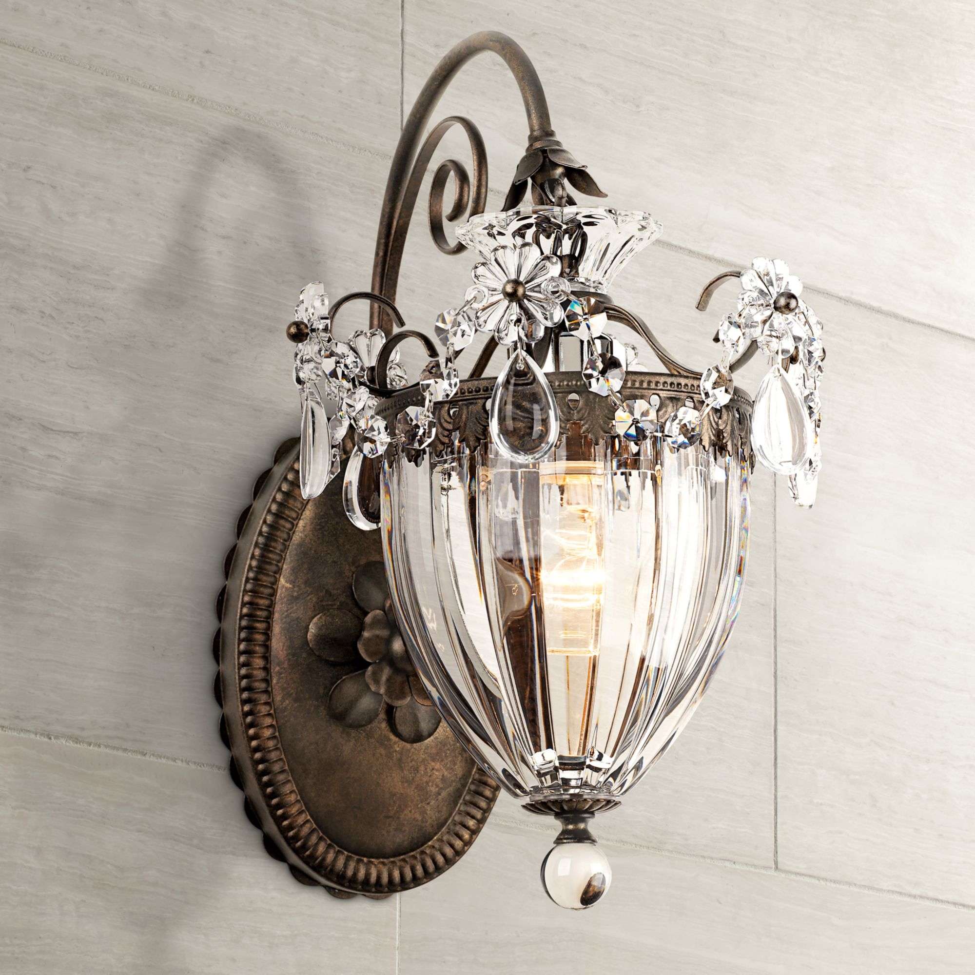 "Schonbek Bagatelle Collection 13"" High Crystal Wall Sconce by Schonbek"