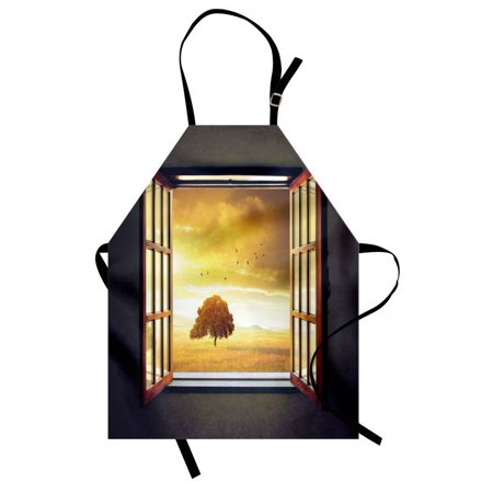 Spring Apron Looking out an Open Window to a Sunny Spring Birds Countryside Landscape, Unisex Kitchen Bib Apron with Adjustable Neck for Cooking Baking Gardening, Grey Marigold Brown, by (Open Bird)
