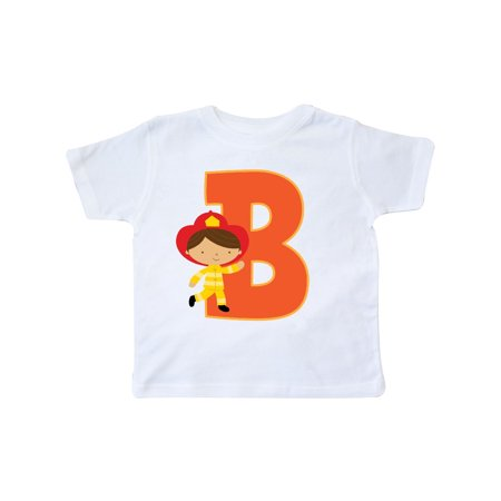 Firefighter Letter B Monogram Fireman Toddler T-Shirt](Monogram Kids Clothing)