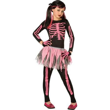 Morris Costumes Girls Classic Halloween Skeletons Black Pink 8-10, Style LF3146CMD