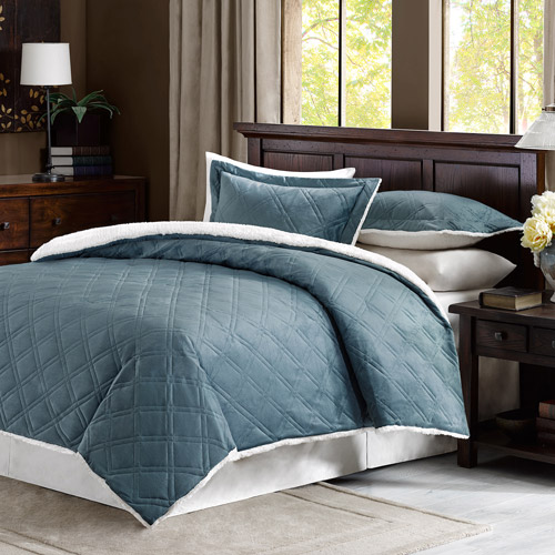 Comfort Classics Lowell Double Diamond Mink Reverse To Berber Comforter Mini Set