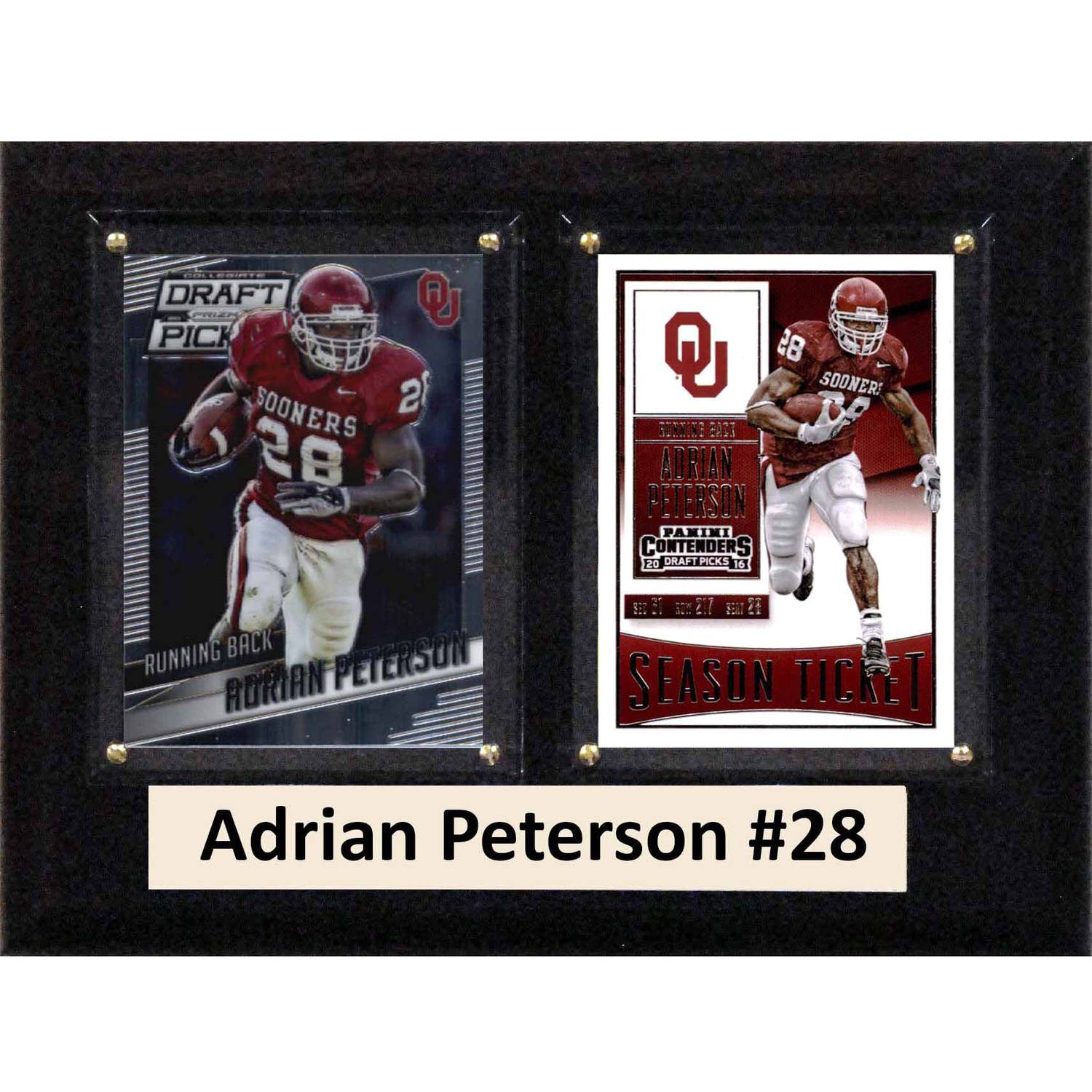 """C & I Collectables NCAA 6"""" x 8"""" Adrian Peterson Oklahoma Sooners 2 Card Plaque"""