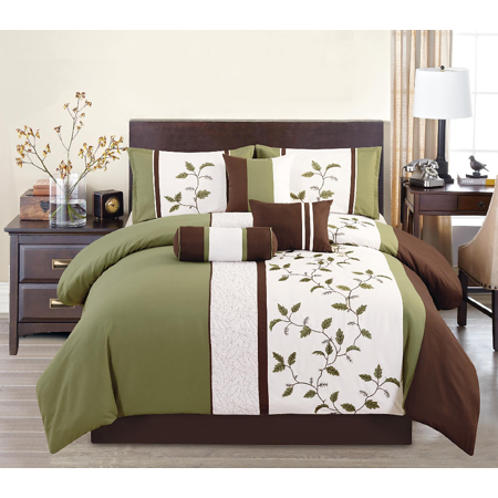 Woodchase Embroidered 7 Piece Comforter Set Queen ()