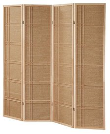 Legacy Decor 4 Panel Fabric In Lay Wooden Screen Room Divider Natural Finish